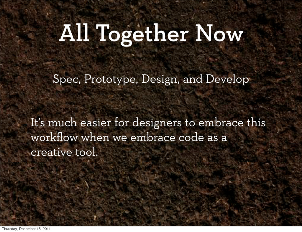 All Together Now Spec, Prototype, Design, and D...