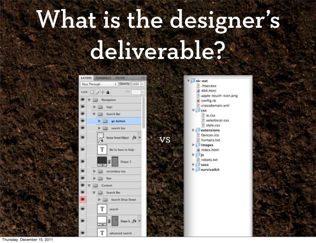 What is the designer's deliverable? vs Thursday...