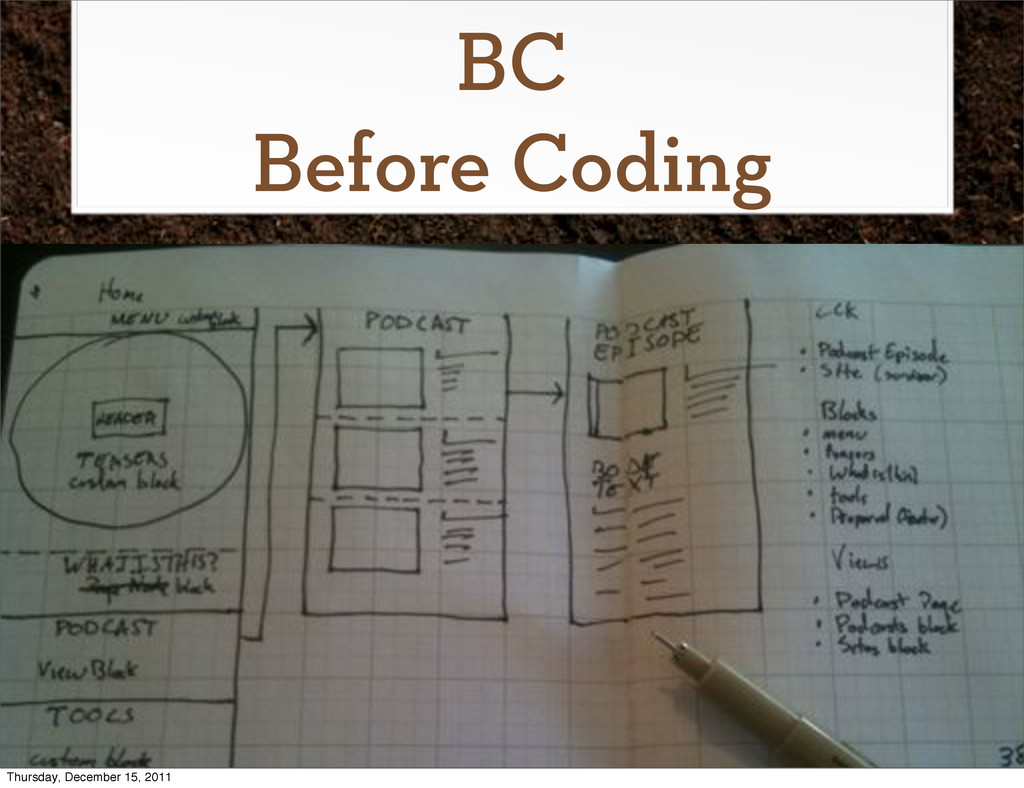 BC Before Coding Thursday, December 15, 2011