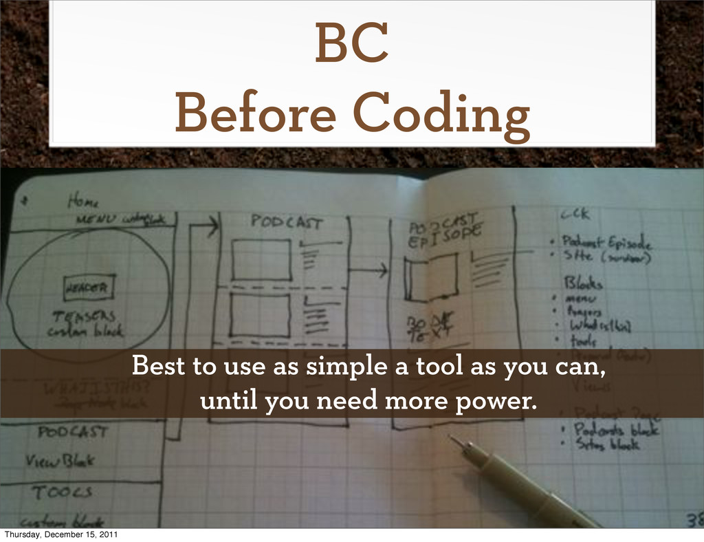 BC Before Coding Best to use as simple a tool a...