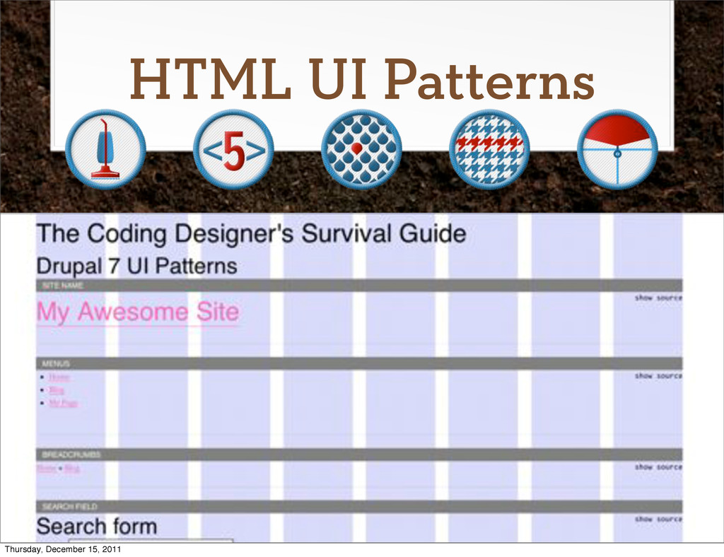 HTML UI Patterns Thursday, December 15, 2011