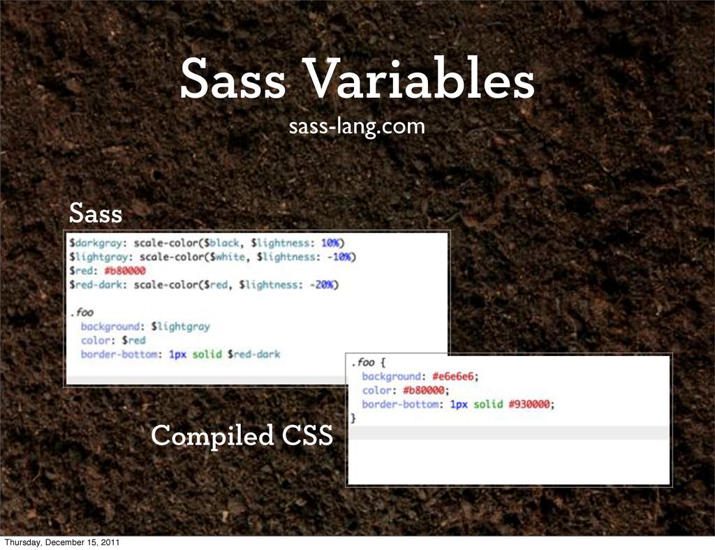 Sass Variables sass-lang.com Sass Compiled CSS ...