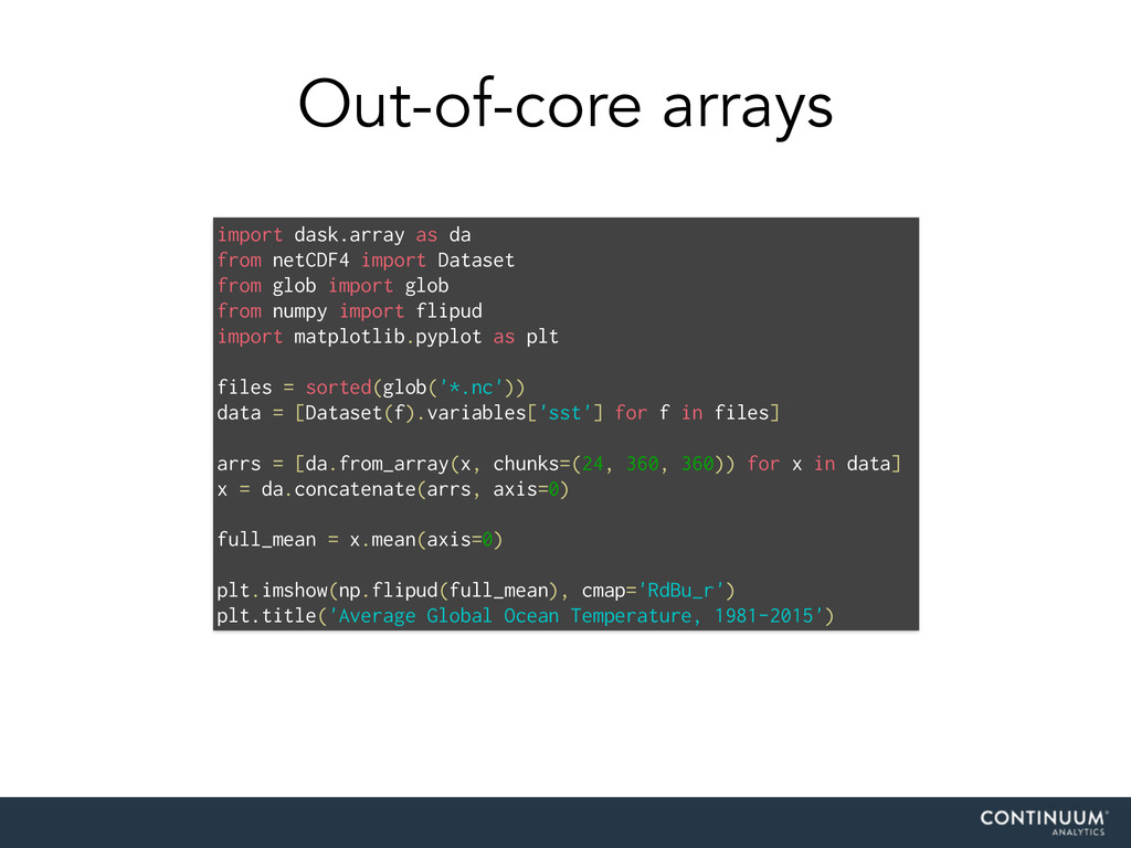 Out-of-core arrays import dask.array as da from...