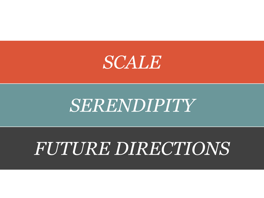 SCALE SERENDIPITY FUTURE DIRECTIONS