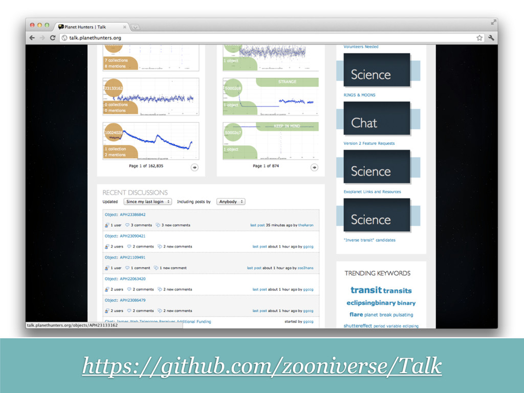 https://github.com/zooniverse/Talk