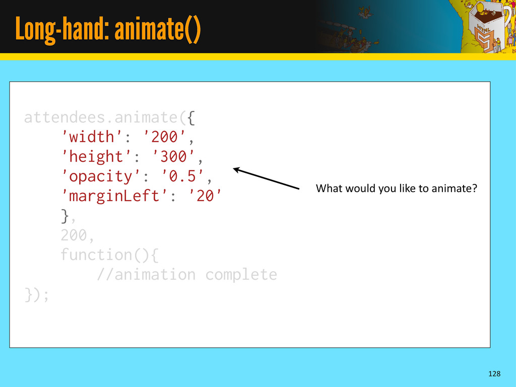 Long-hand: animate() 128 attendees.animate({ 'w...