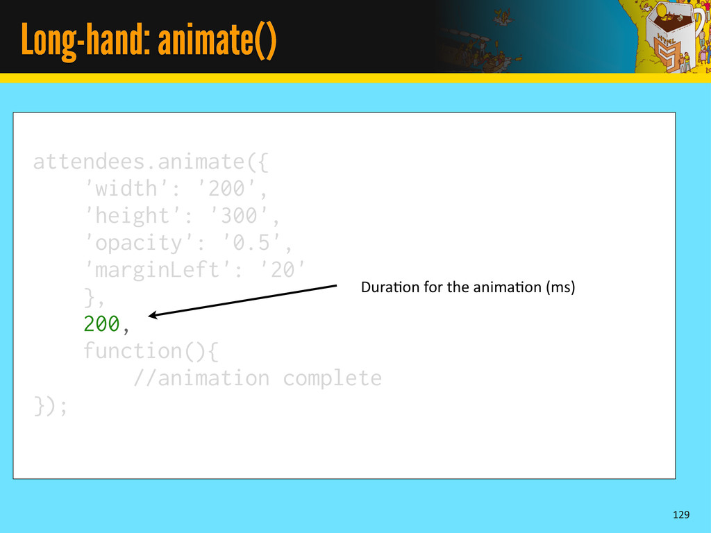 Long-hand: animate() 129 attendees.animate({ 'w...
