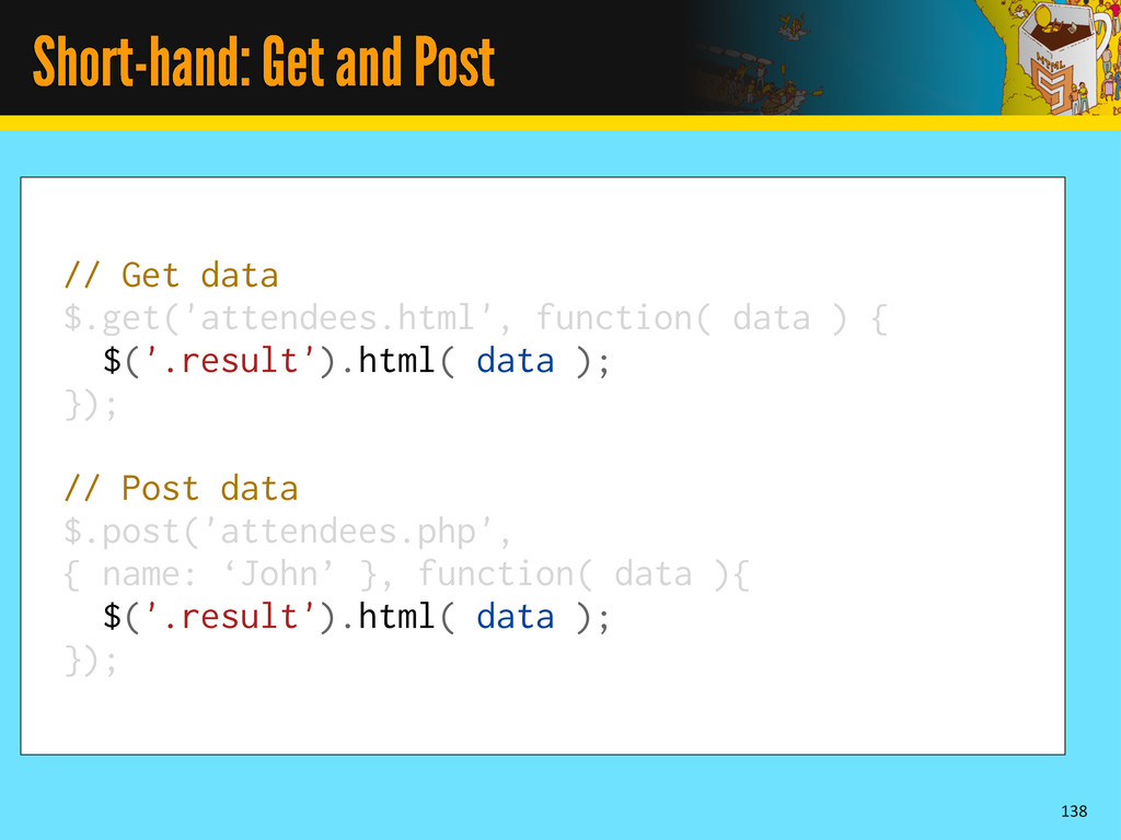 Short-hand: Get and Post 138 // Get data $.get(...