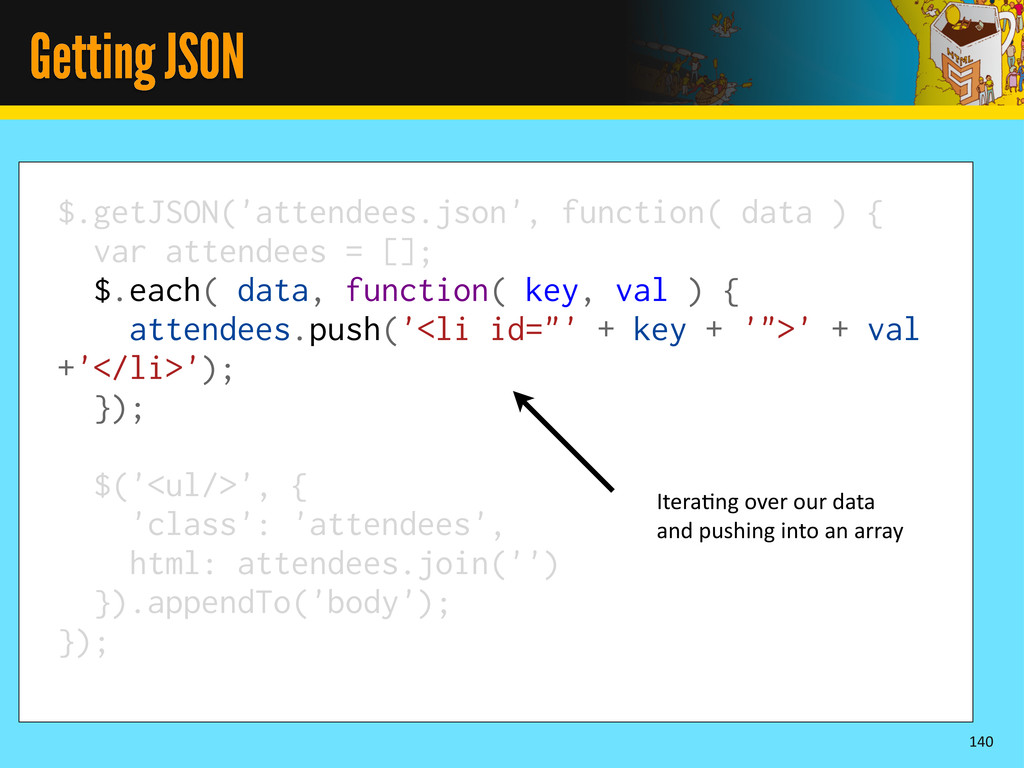 Getting JSON 140 $.getJSON('attendees.json', fu...