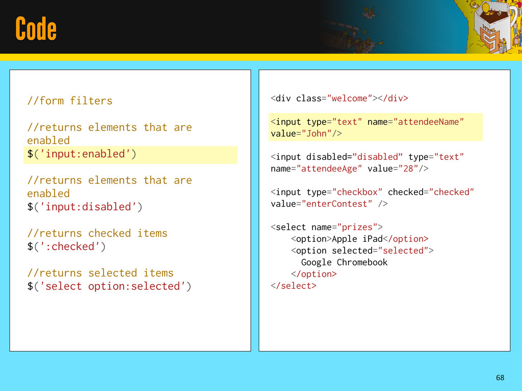 Code 68 //form filters //returns elements that ...