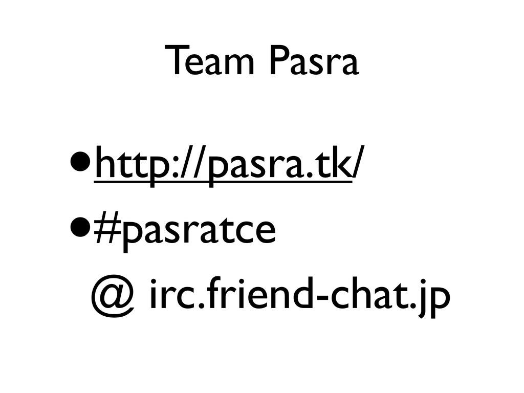 Team Pasra •http://pasra.tk/ •#pasratce @ irc.f...
