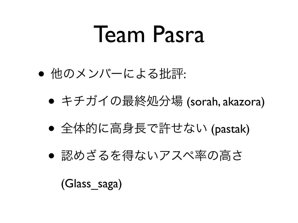 Team Pasra • ଞͷϝϯόʔʹΑΔ൷ධ: • ΩνΨΠͷ࠷ऴॲ (sorah, ...