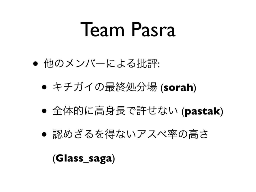 Team Pasra • ଞͷϝϯόʔʹΑΔ൷ධ: • ΩνΨΠͷ࠷ऴॲ (sorah) ...