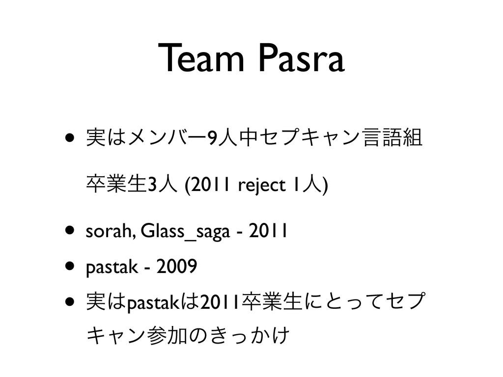 Team Pasra • ࣮ϝϯόʔ9ਓதηϓΩϟϯݴޠ ଔۀੜ3ਓ (2011 reje...