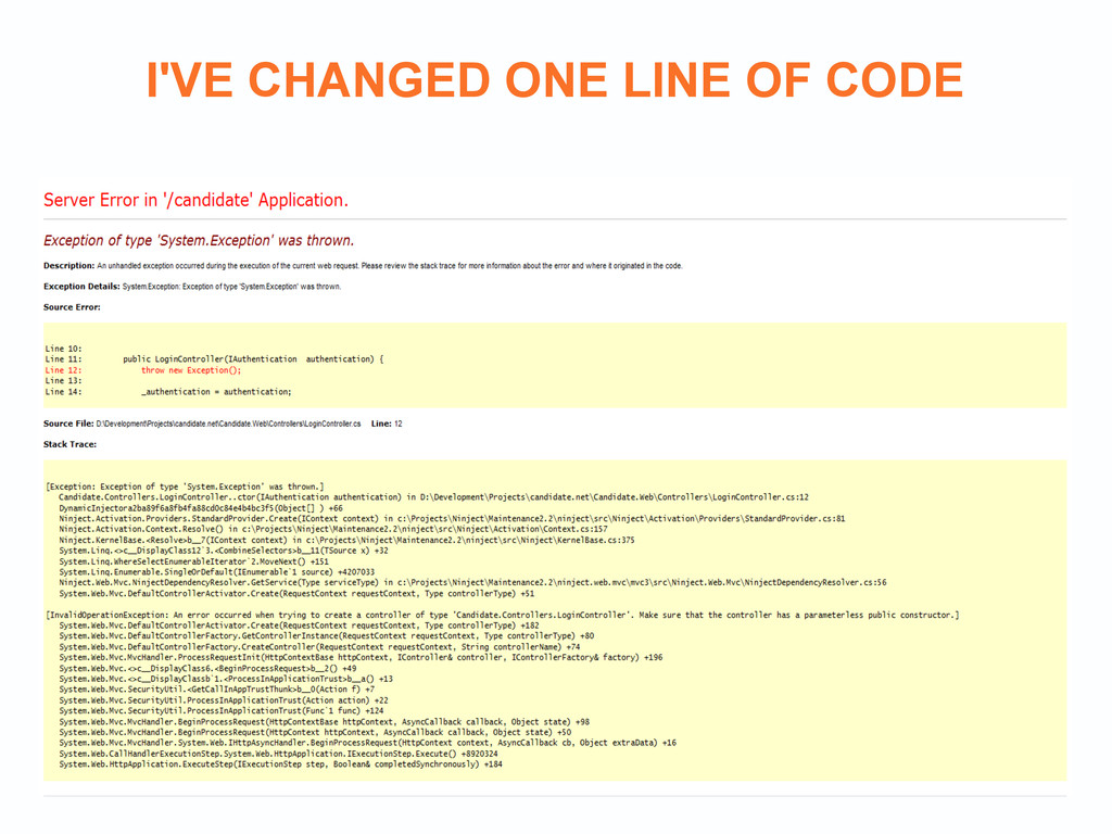 I'VE CHANGED ONE LINE OF CODE