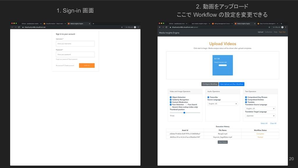 1. Sign-in 画面 2. 動画をアップロード ここで Workflow の設定を変更で...