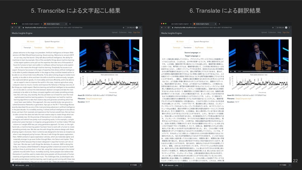 5. Transcribe による文字起こし結果 6. Translate による翻訳結果 22