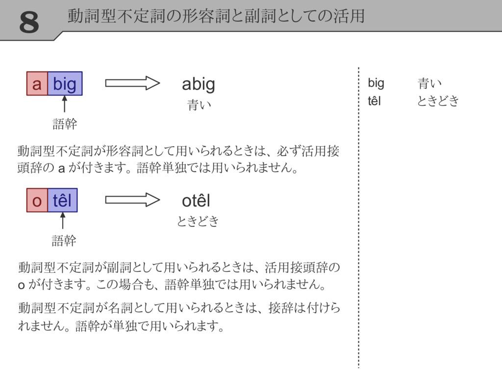 8 動詞型不定詞の形容詞と副詞としての活用 big big têl 青い ときどき 動詞型不定...
