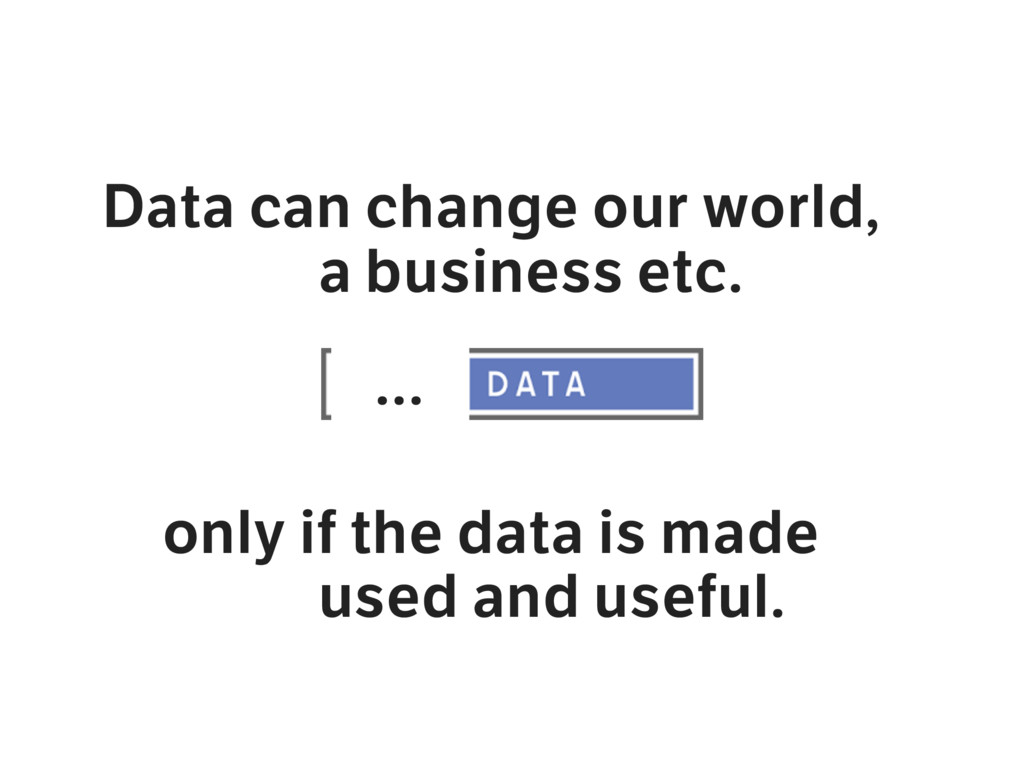Data can change our world, a business etc. only...