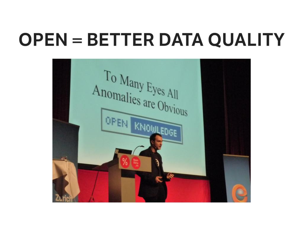 OPEN = BETTER DATA QUALITY
