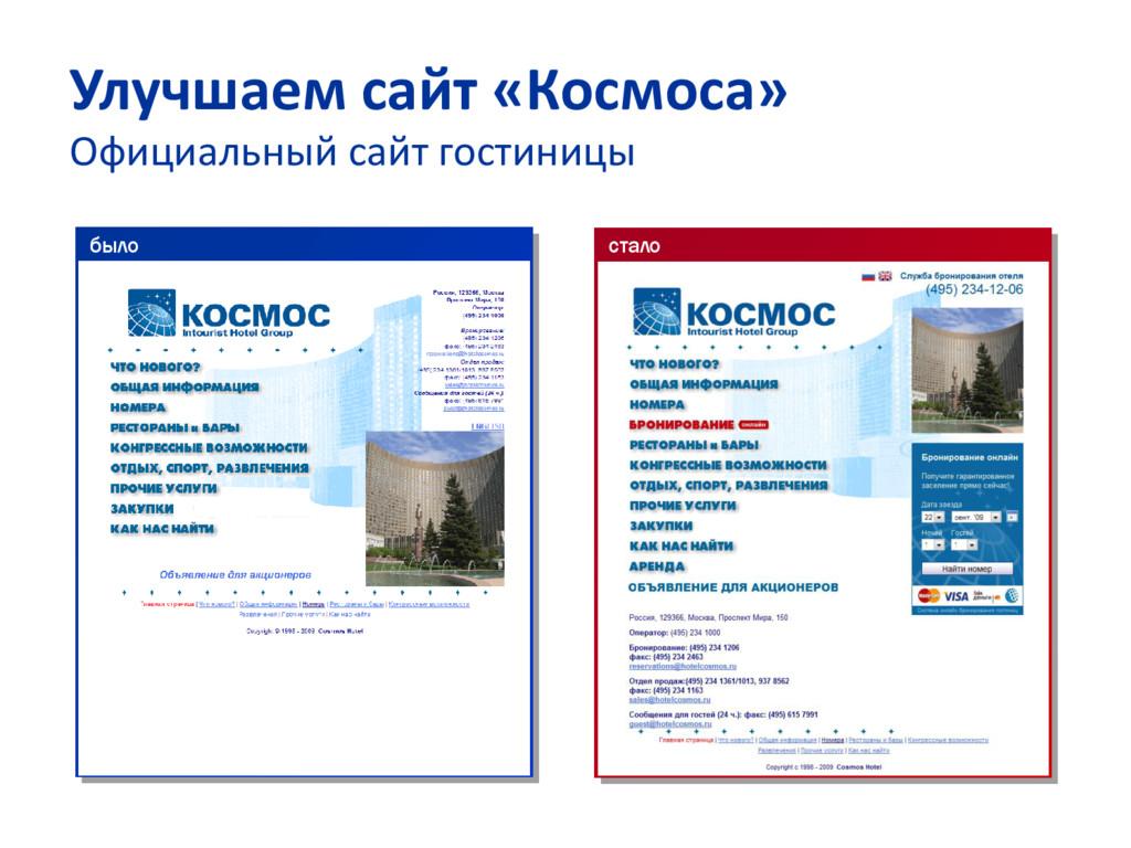 Улучшаем сайт «Космоса» Официальный сайт гостин...