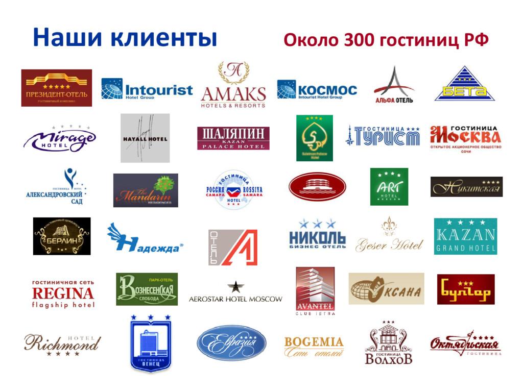 Наши клиенты Около 300 гостиниц РФ