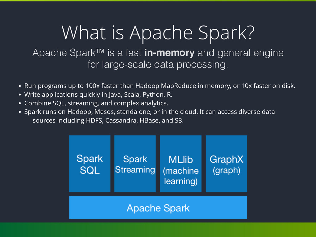 What is Apache Spark? • Run programs up to 100x...