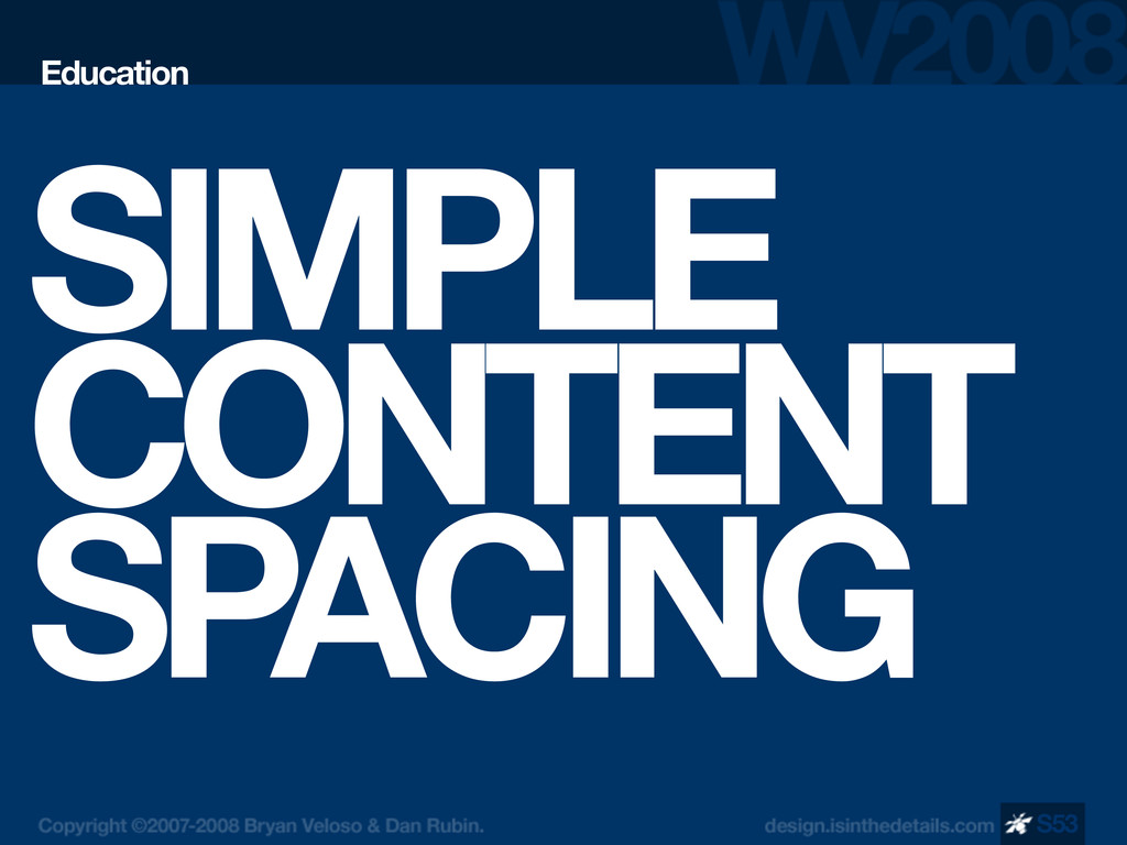 SIMPLE CONTENT SPACING Education S53