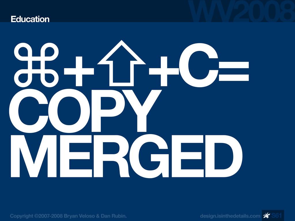 ⌘+⇧+C= COPY MERGED Education S61