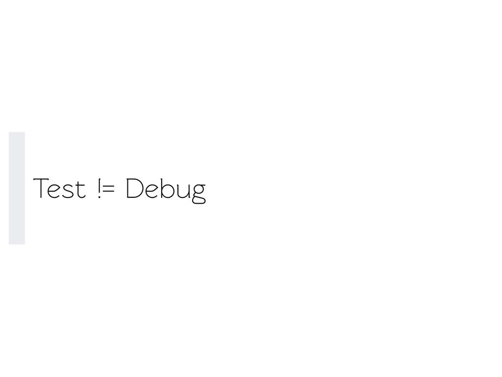 Test != Debug