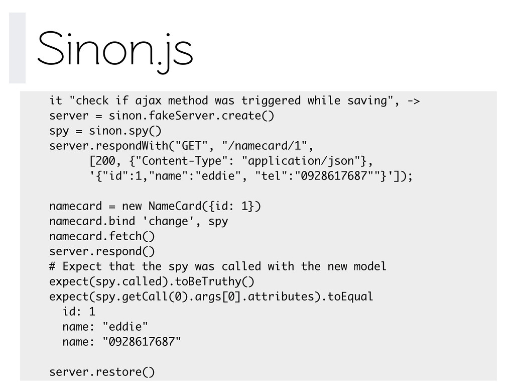 "Sinon.js it ""check if ajax method was triggered..."