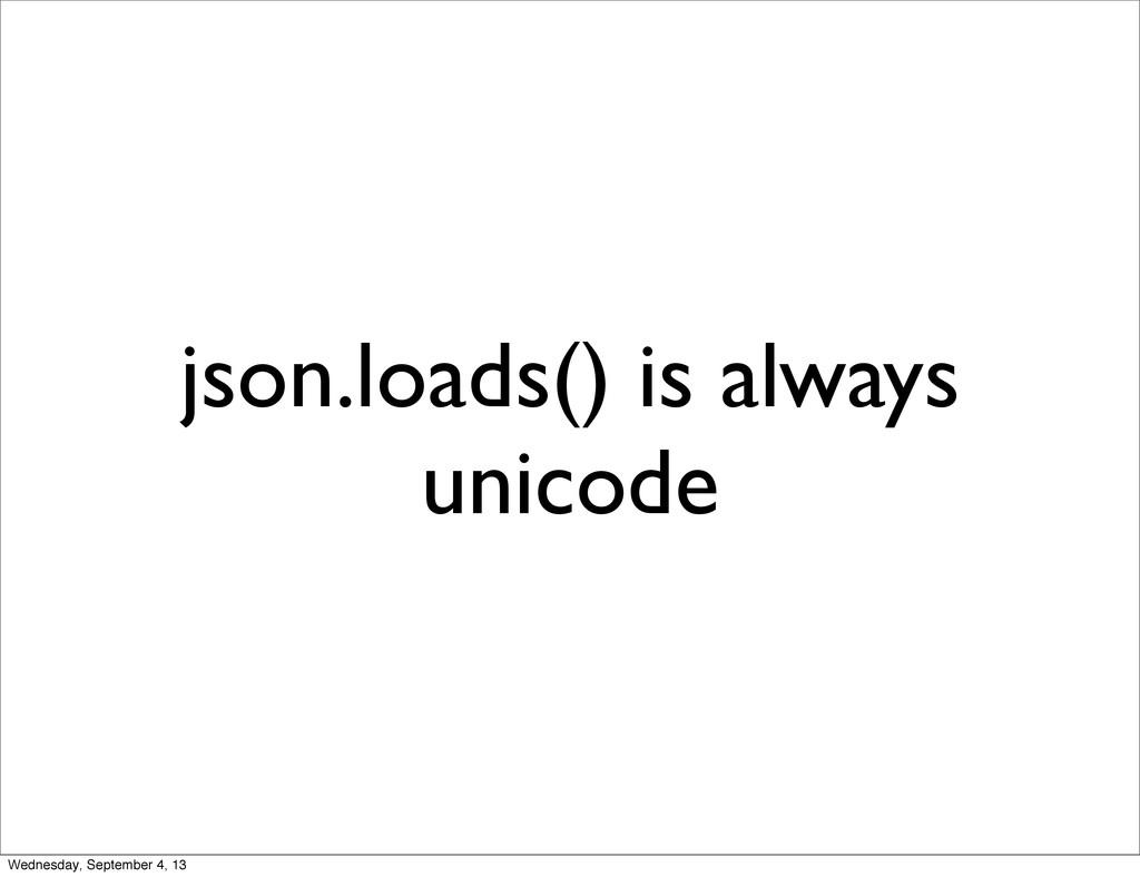 json.loads() is always unicode Wednesday, Septe...
