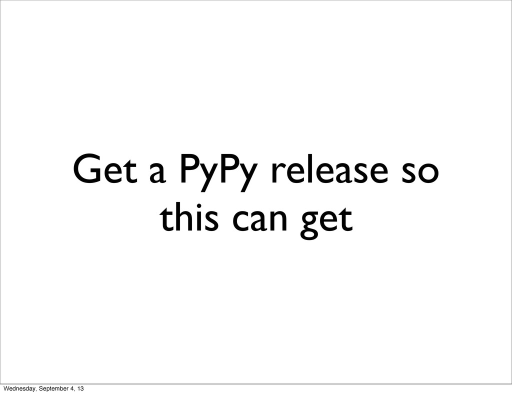 Get a PyPy release so this can get Wednesday, S...