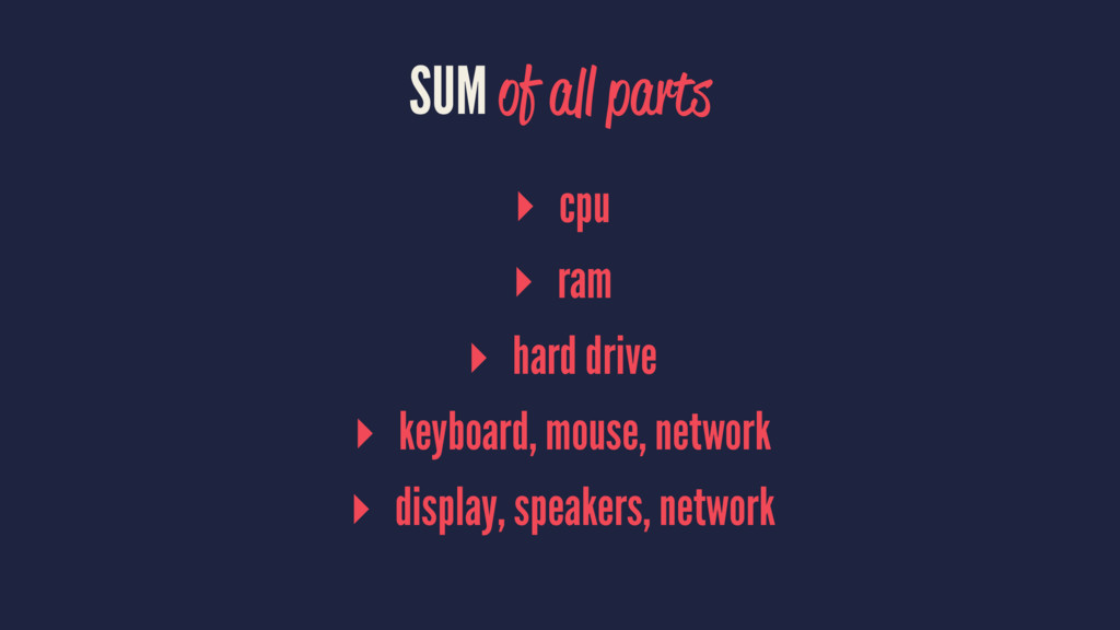 SUM of all parts ▸ cpu ▸ ram ▸ hard drive ▸ key...