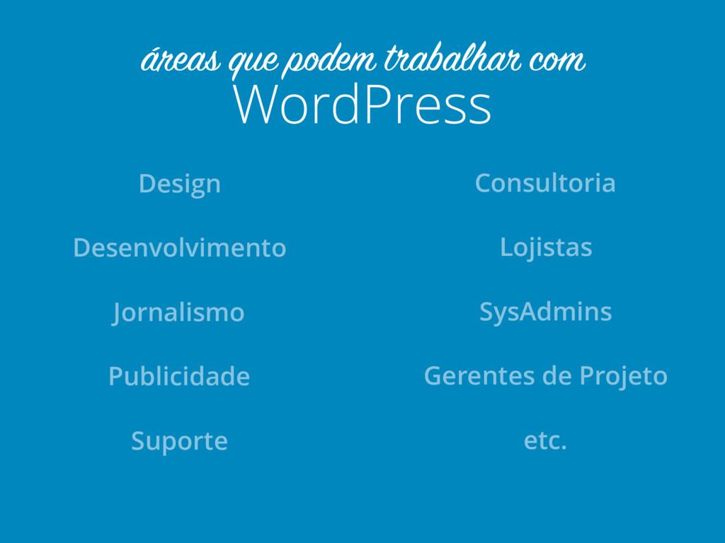 WordPress áreas que podem trabalhar com Design ...