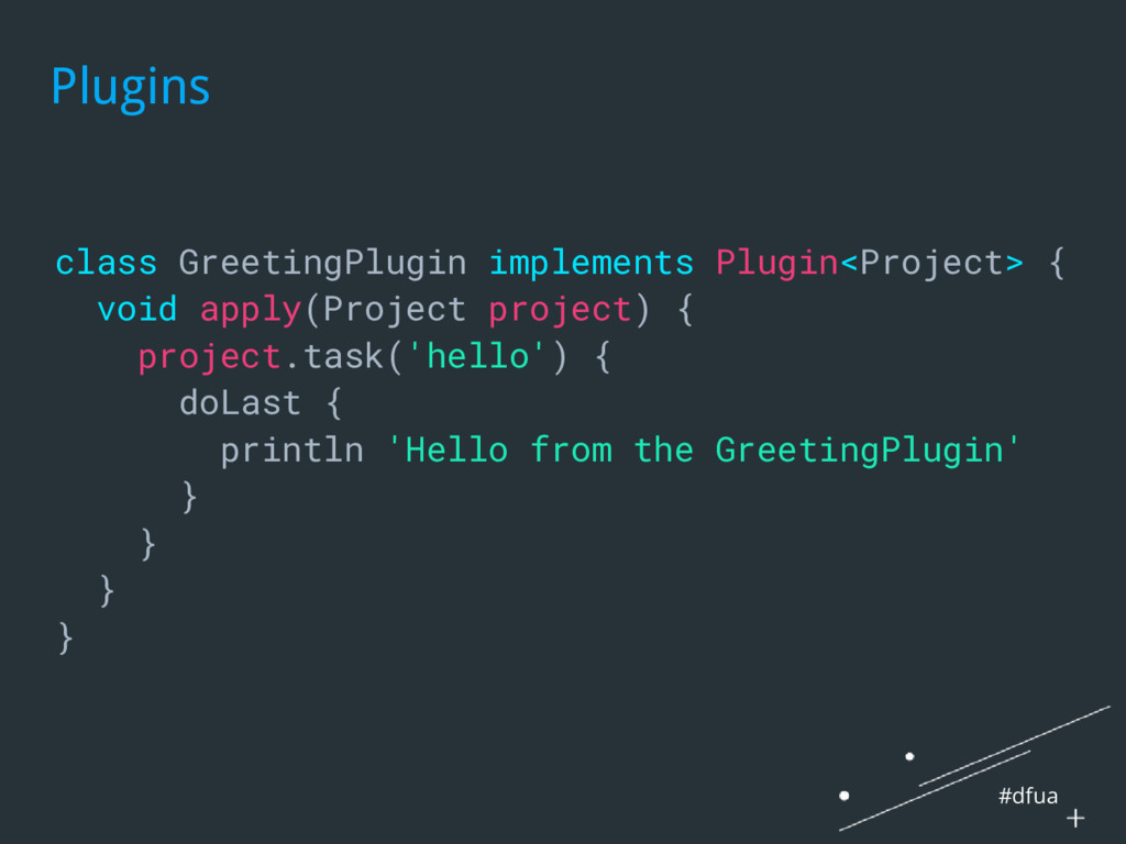 #dfua Plugins class GreetingPlugin implements P...