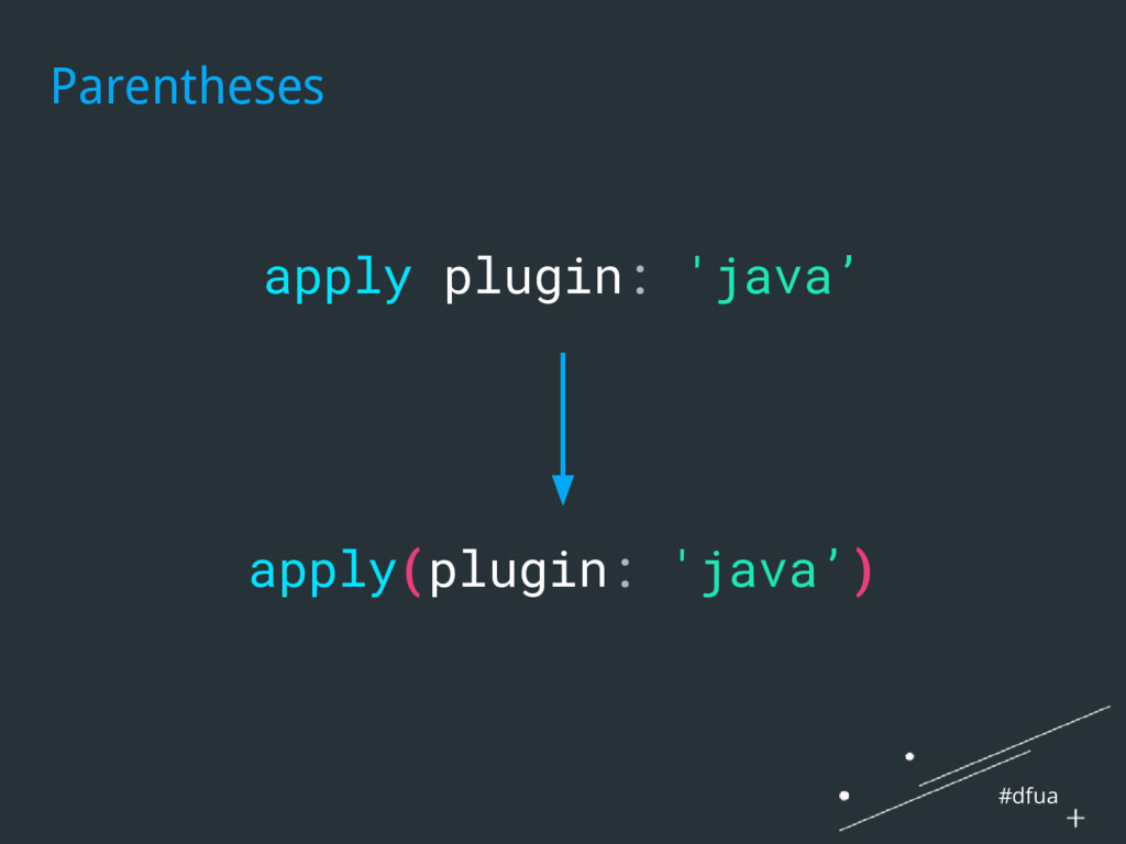 #dfua Parentheses apply plugin: 'java' apply(pl...