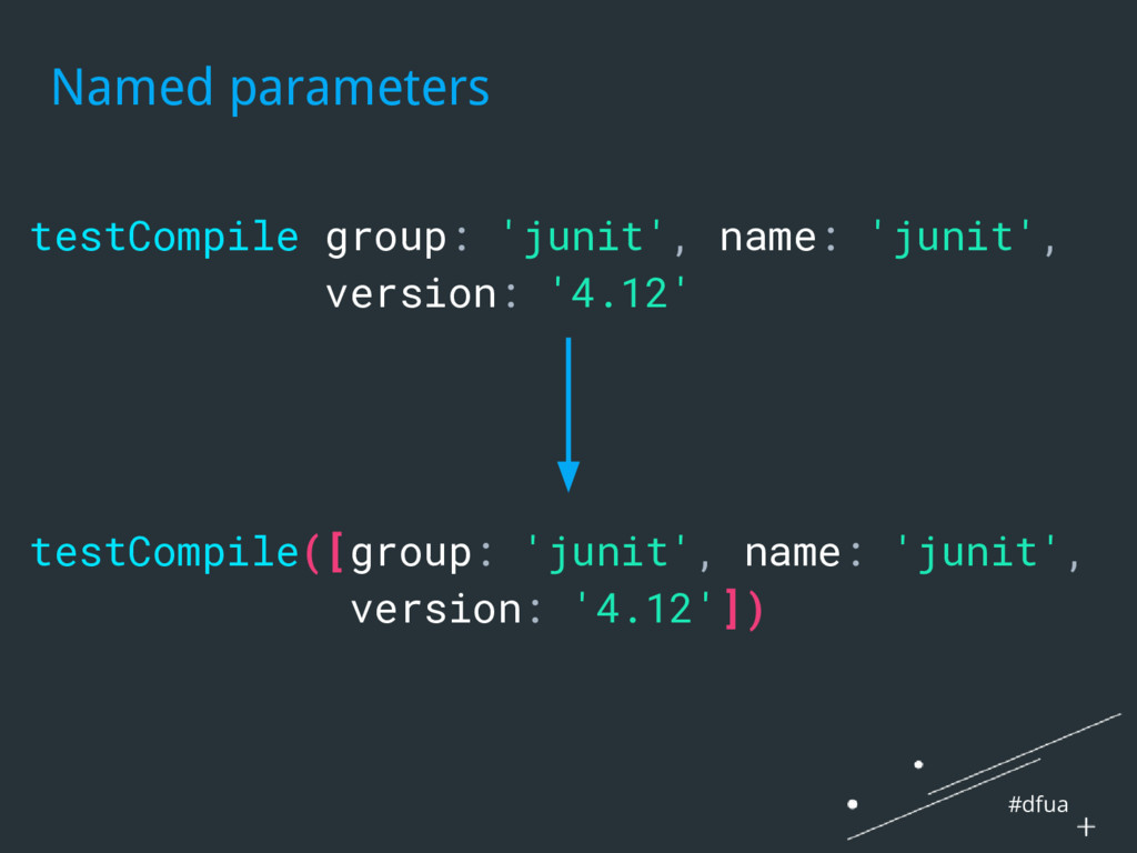 #dfua Named parameters testCompile group: 'juni...