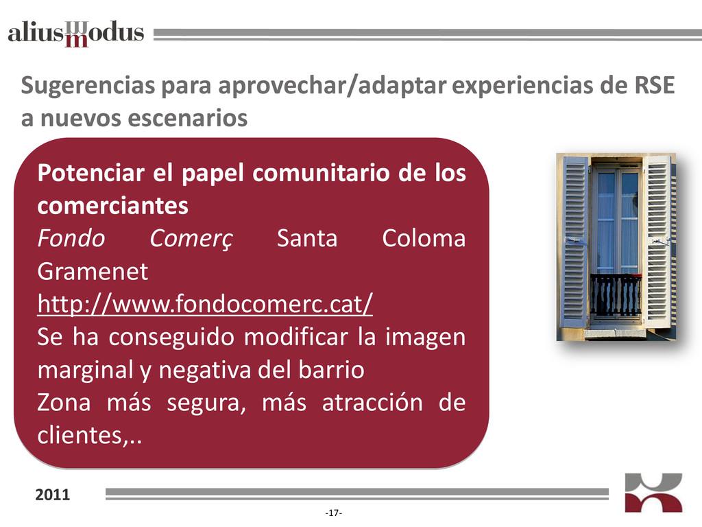 2011 -17- Sugerencias para aprovechar/adaptar e...