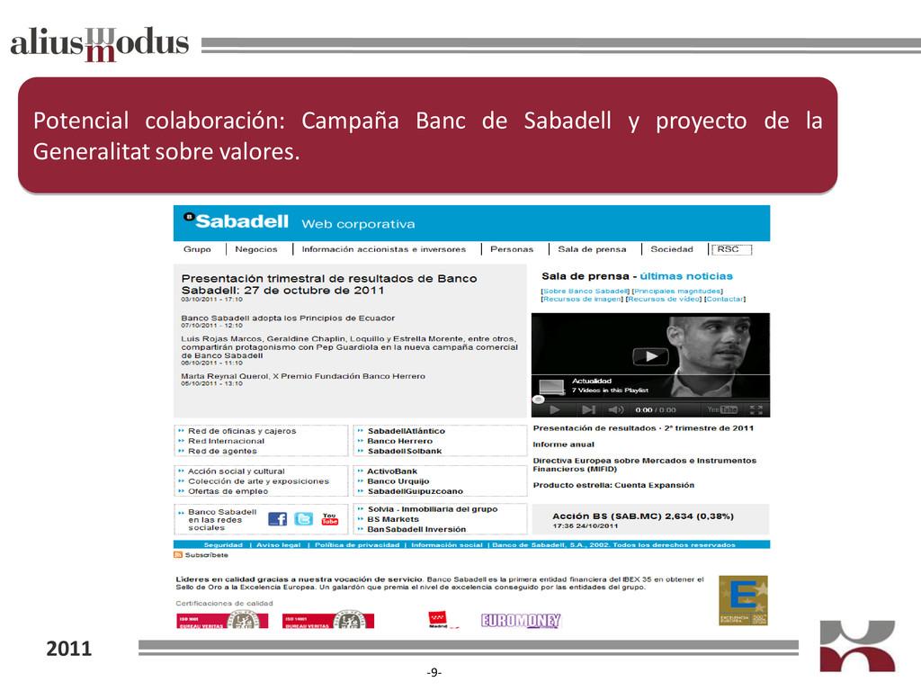 2011 -9- Potencial colaboración: Campaña Banc d...