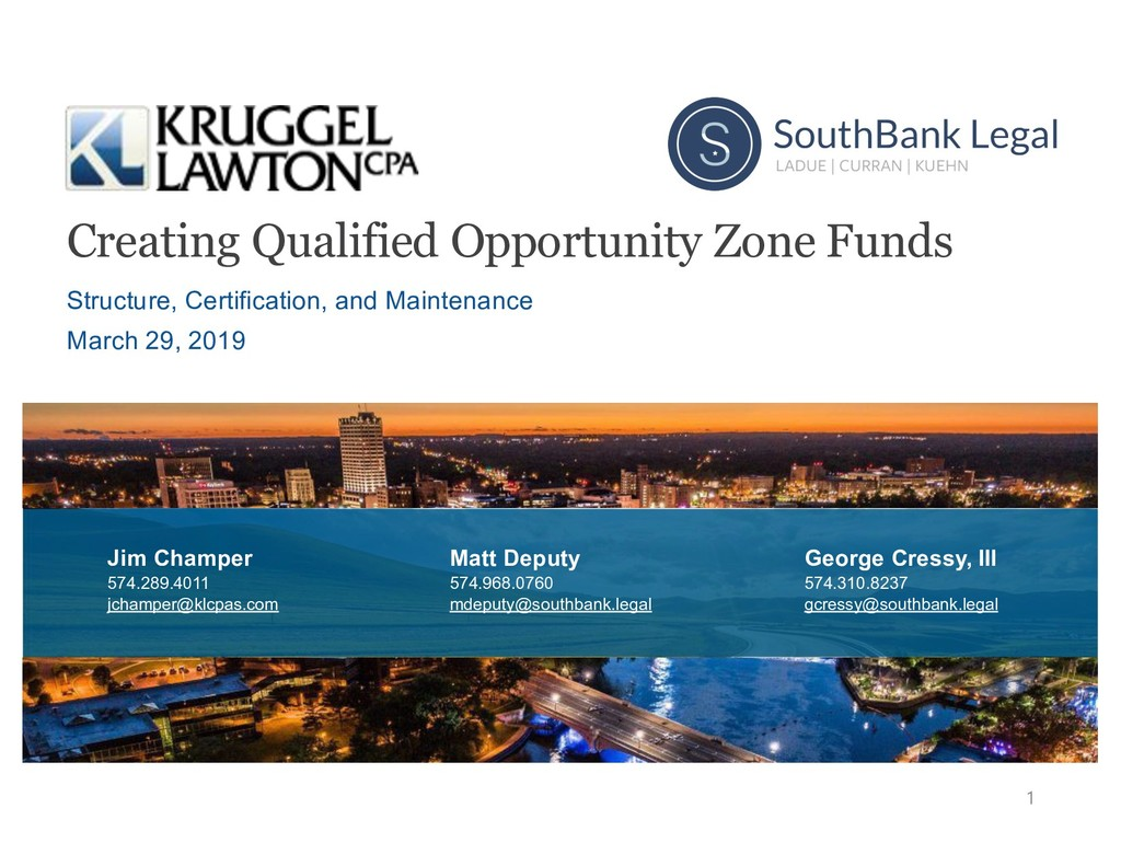 Creating Qualified Opportunity Zone Funds Struc...