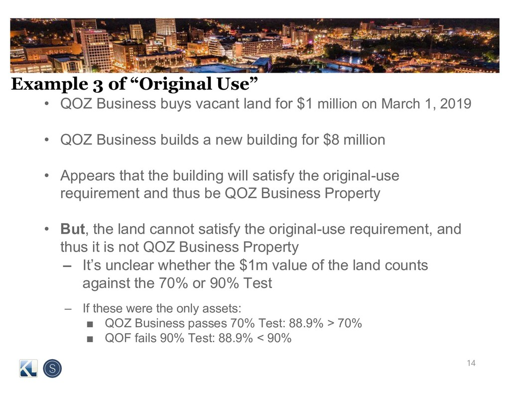 """Example 3 of """"Original Use"""" • QOZ Business buys..."""