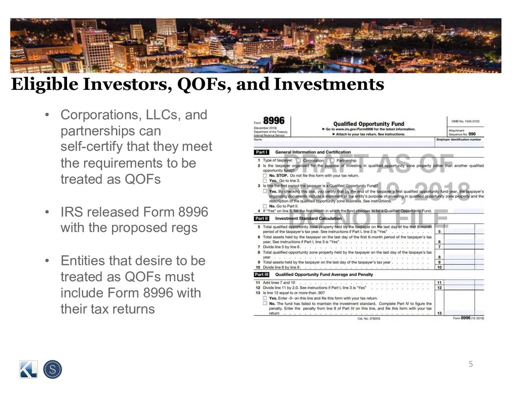 Eligible Investors, QOFs, and Investments • Cor...