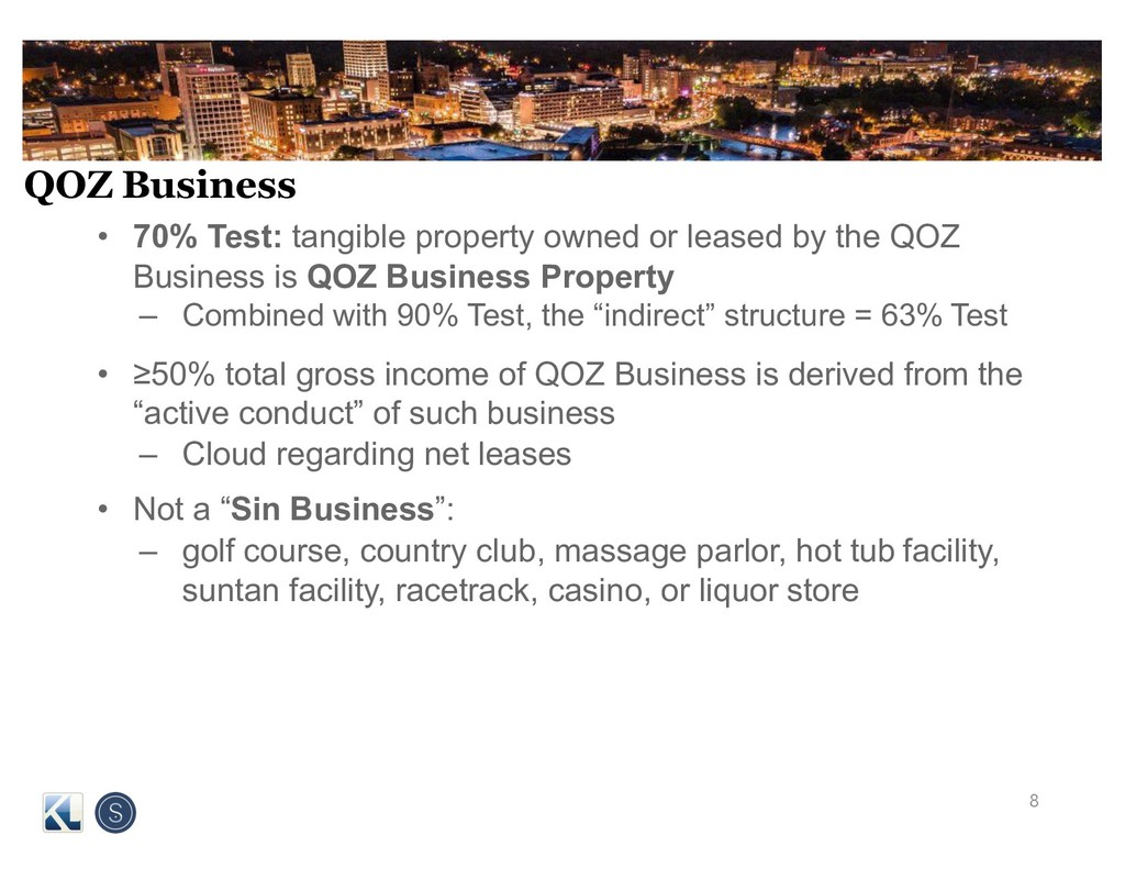QOZ Business • 70% Test: tangible property owne...