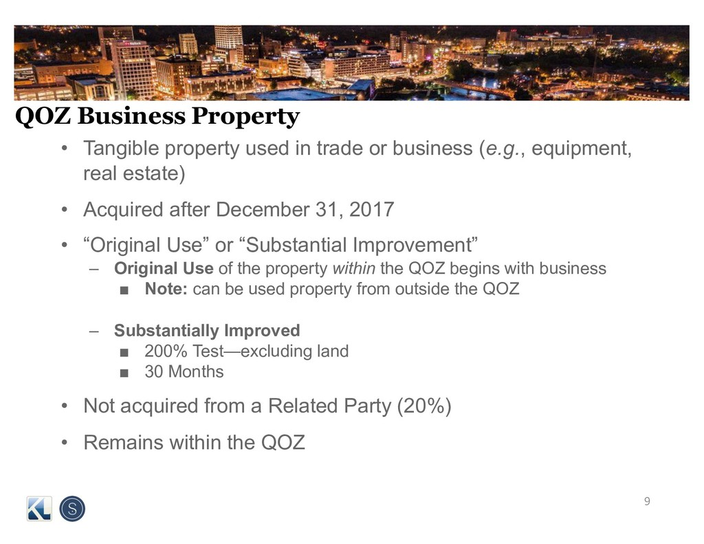 QOZ Business Property • Tangible property used ...