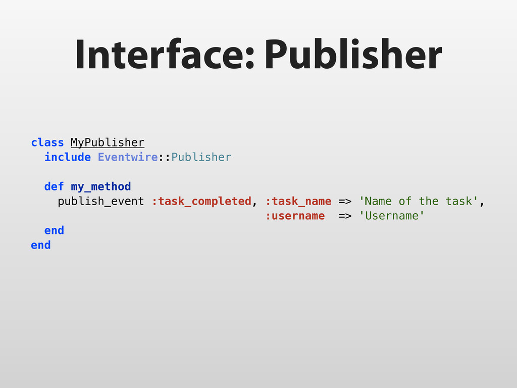 Interface: Publisher class MyPublisher include ...