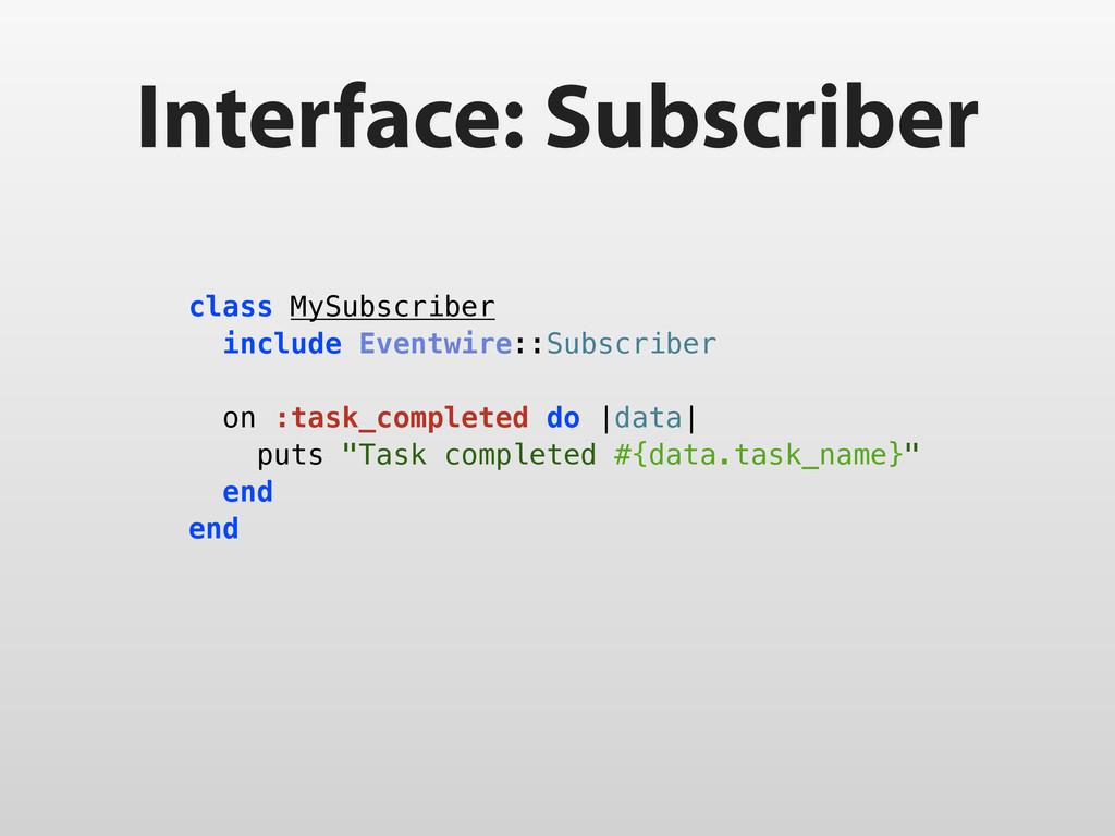 Interface: Subscriber class MySubscriber includ...