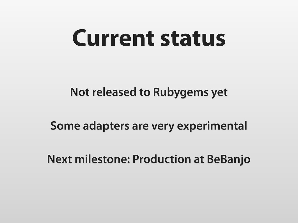Current status Not released to Rubygems yet Som...