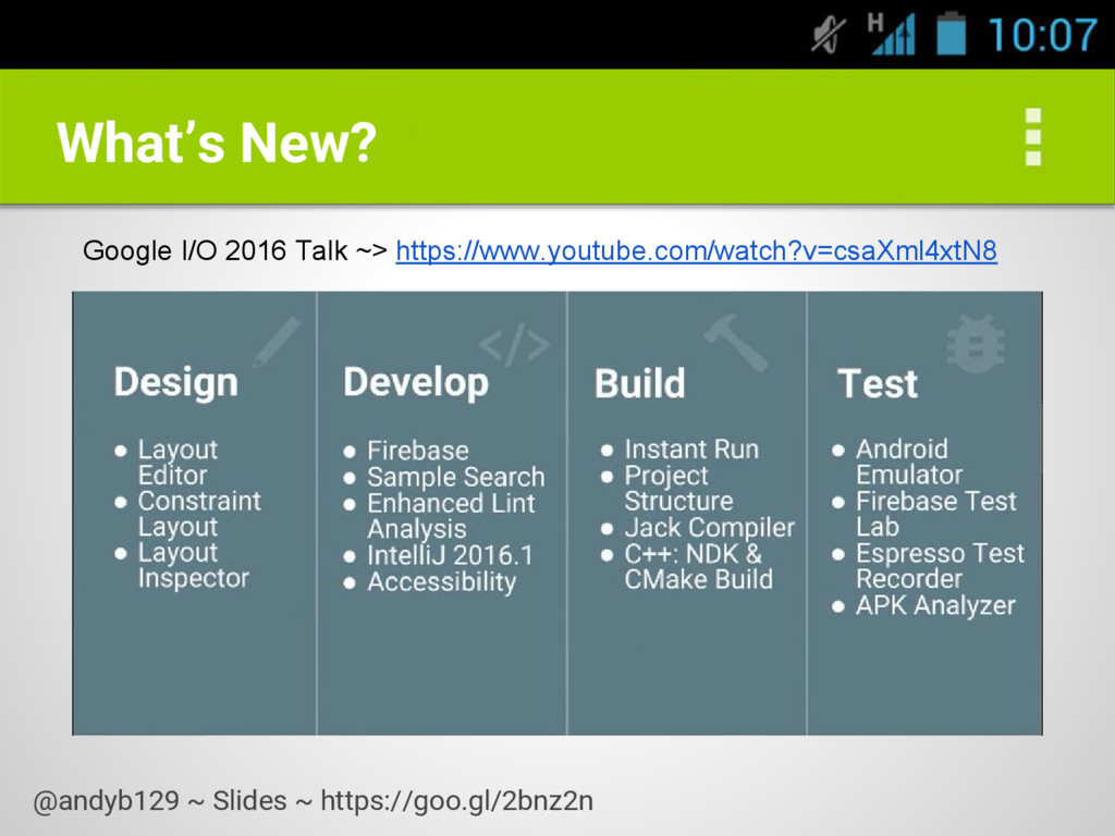 What's New? Google I/O 2016 Talk ~> https://www...