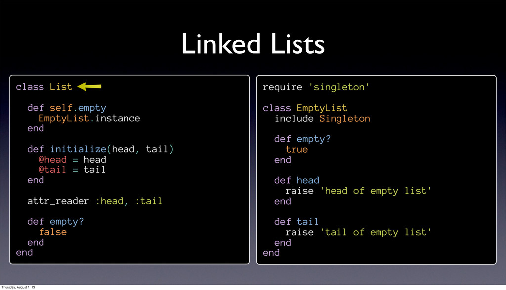 Linked Lists Thursday, August 1, 13